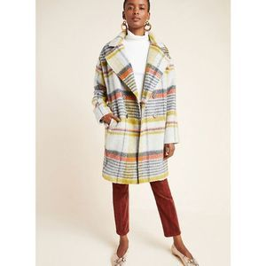 New Eva Franco Camille Double-Breasted Plaid Coat